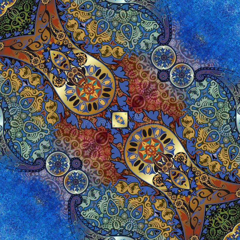 Modèle floral sur le fond minable bleu illustration libre de droits