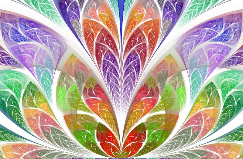 Mod?le floral sym?trique et magique de fractale Belle fleur dans la palette multicolore illustration de vecteur