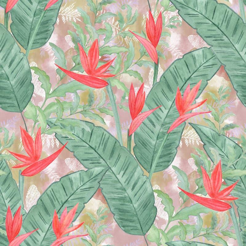 Modèle floral tropical sans couture d'aquarelle illustration stock