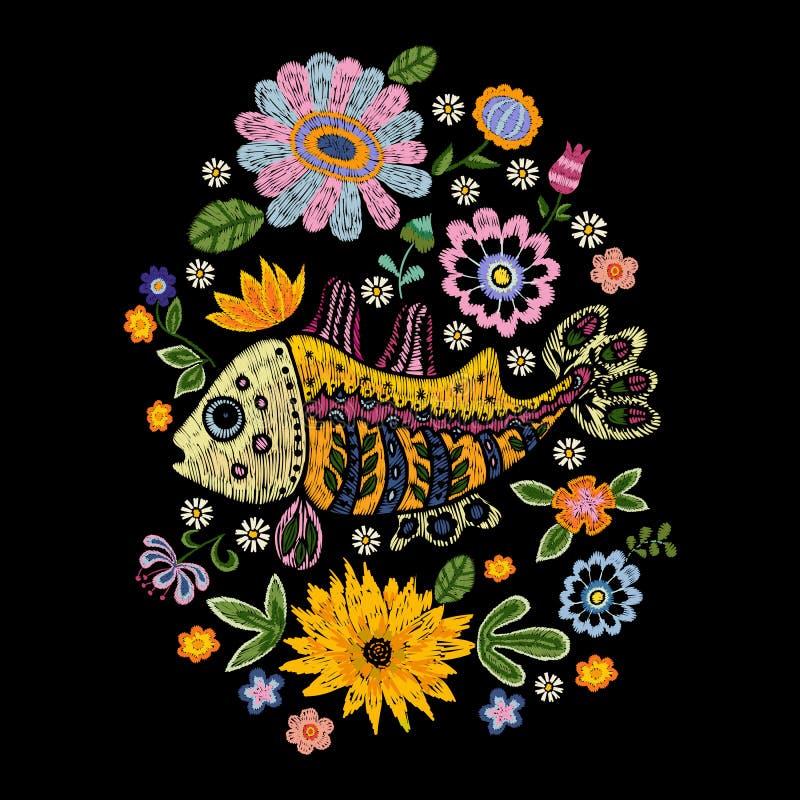 Modèle folklorique de broderie avec des poissons et des fleurs illustration de vecteur