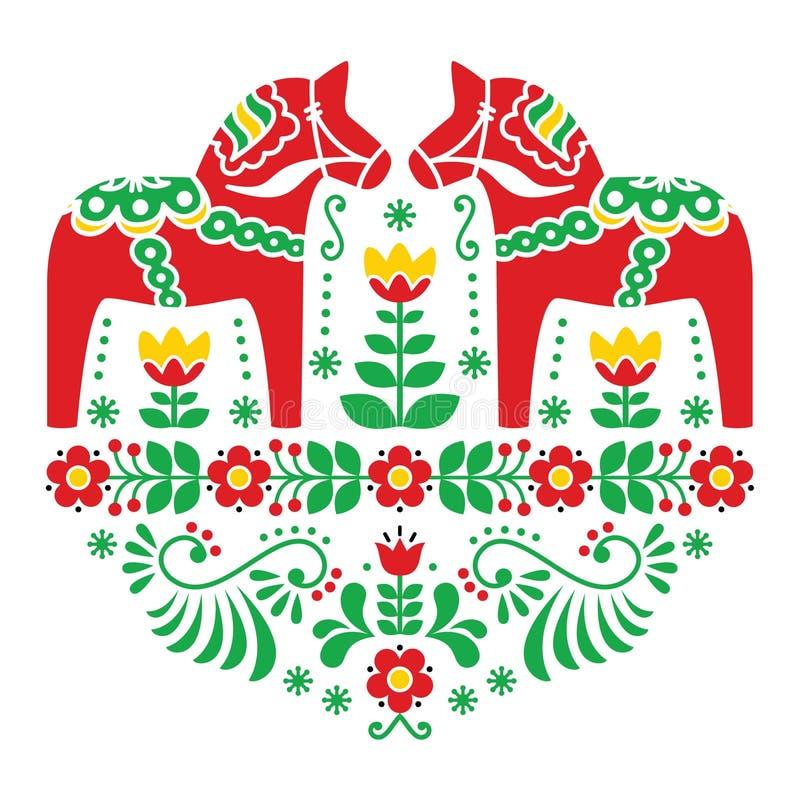 Modèle folklorique floral de cheval de Suédois Dala ou de Daleclarian illustration de vecteur