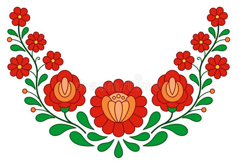Modèle folklorique hongrois traditionnel de broderie illustration stock