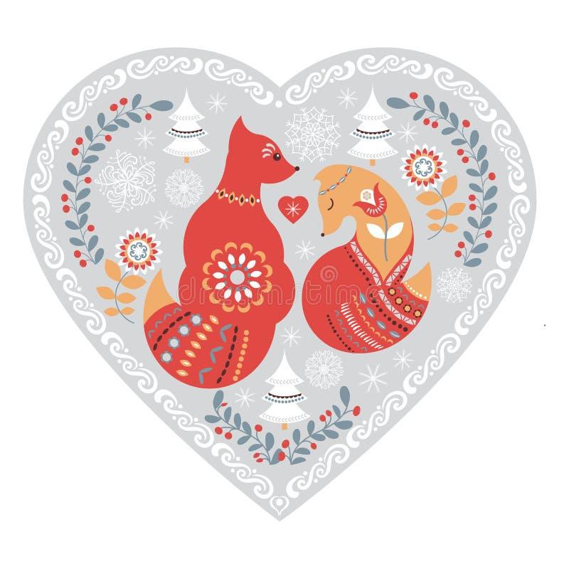 Modèle folklorique mignon scandinave avec le renard et les fleurs illustration de vecteur
