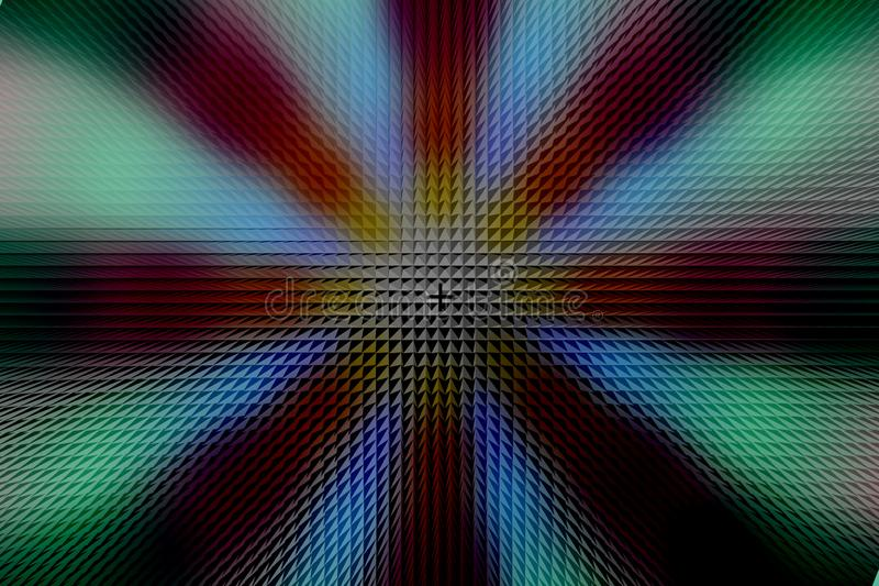 Modèle foncé de cercle radial multicolore, effet de pyramide photo stock