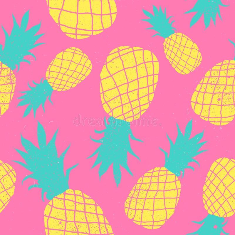 Modèle fou de couleurs de fruit sans couture d'ananas de vecteur Papier peint mignon coloré très lumineux de fond de bande dessin illustration de vecteur