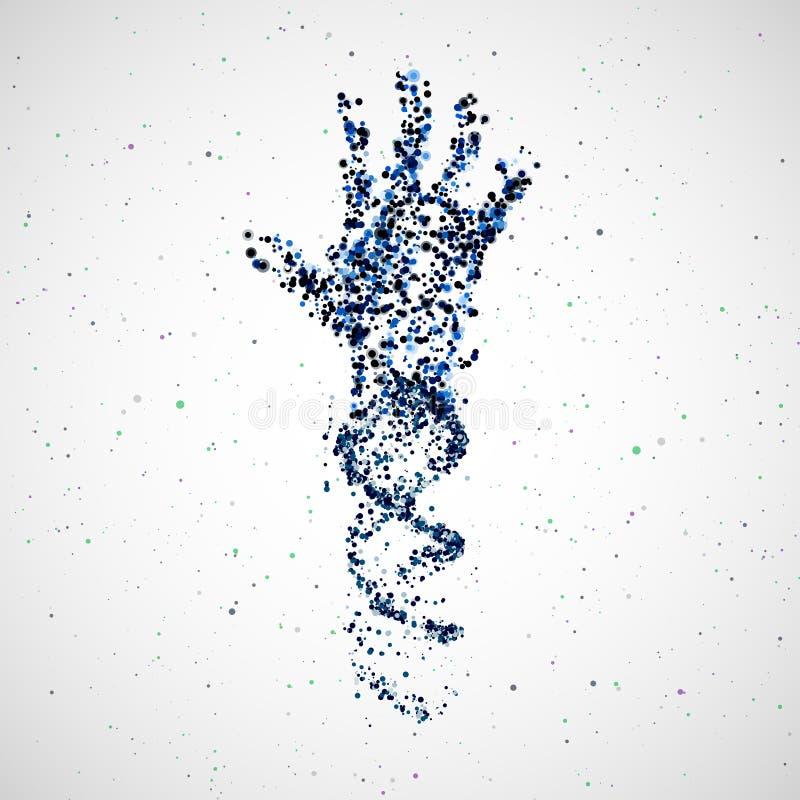 Modèle futuriste d'ADN de main, molécule abstraite illustration libre de droits
