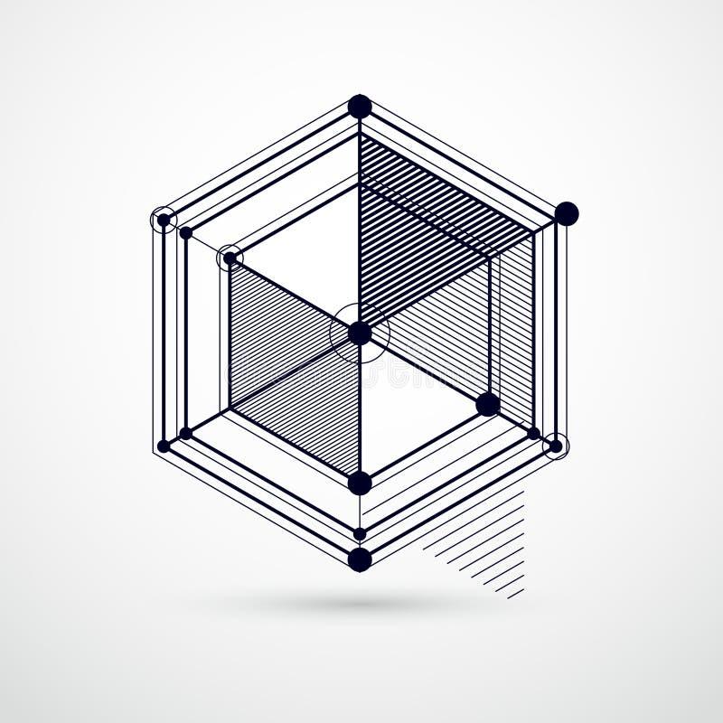 Modèle géométrique à la mode de vecteur, bla abstrait texturisé de maille de cube illustration libre de droits