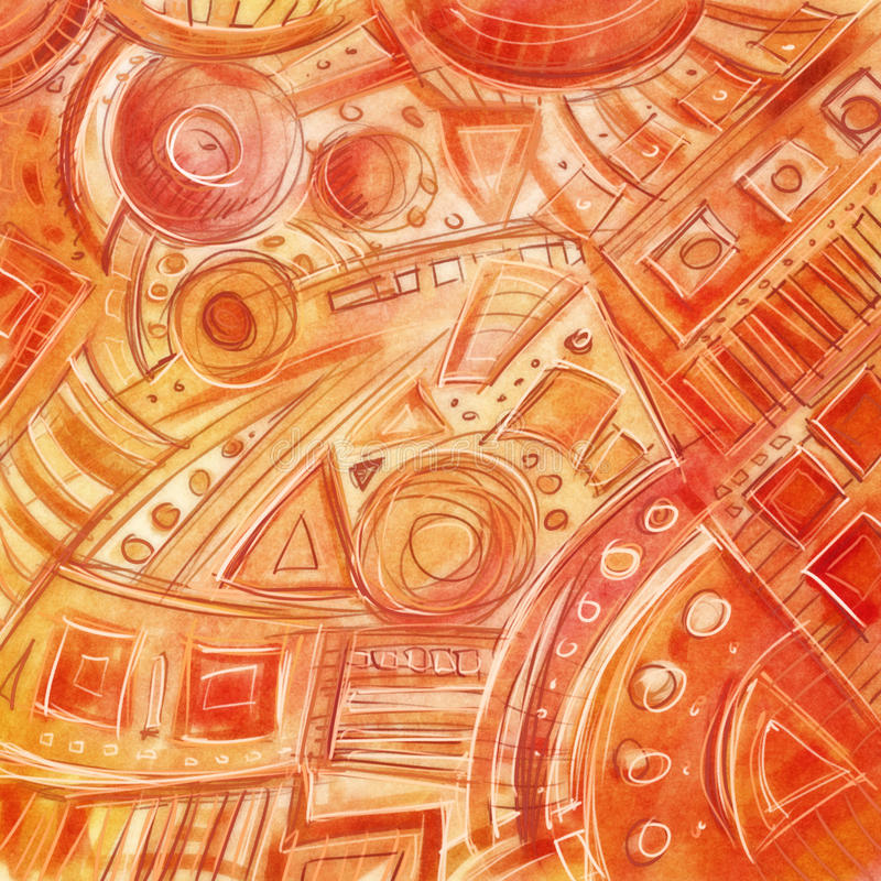 Modèle géométrique abstrait à main levée numérique tiré par la main, peu précis, illustration libre de droits