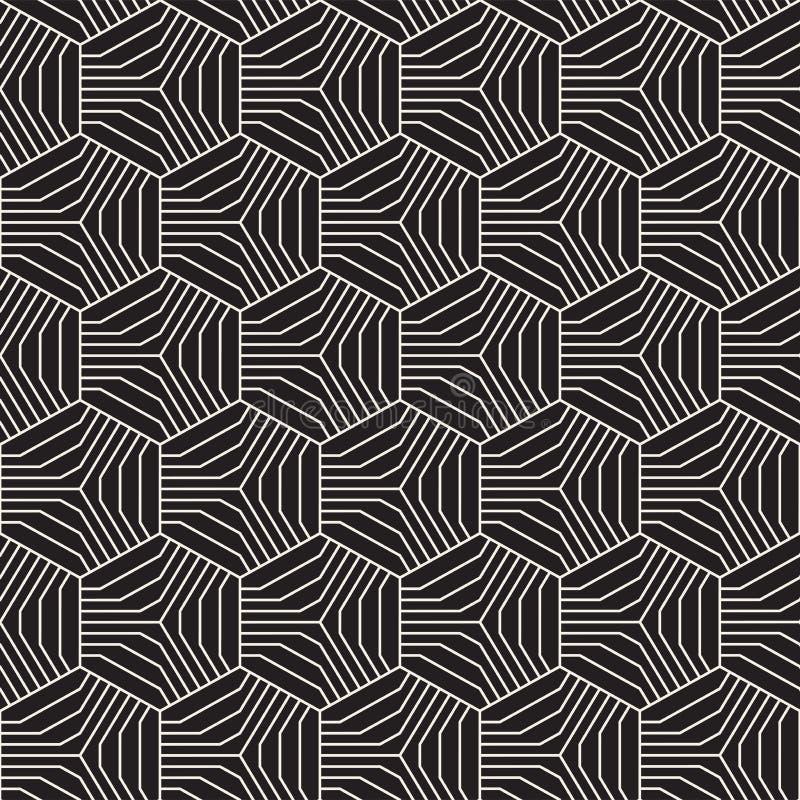 Modèle géométrique abstrait avec des hexagones et des rayures Dirigez les lignes minces sans couture fond Trellis noir et blanc illustration de vecteur