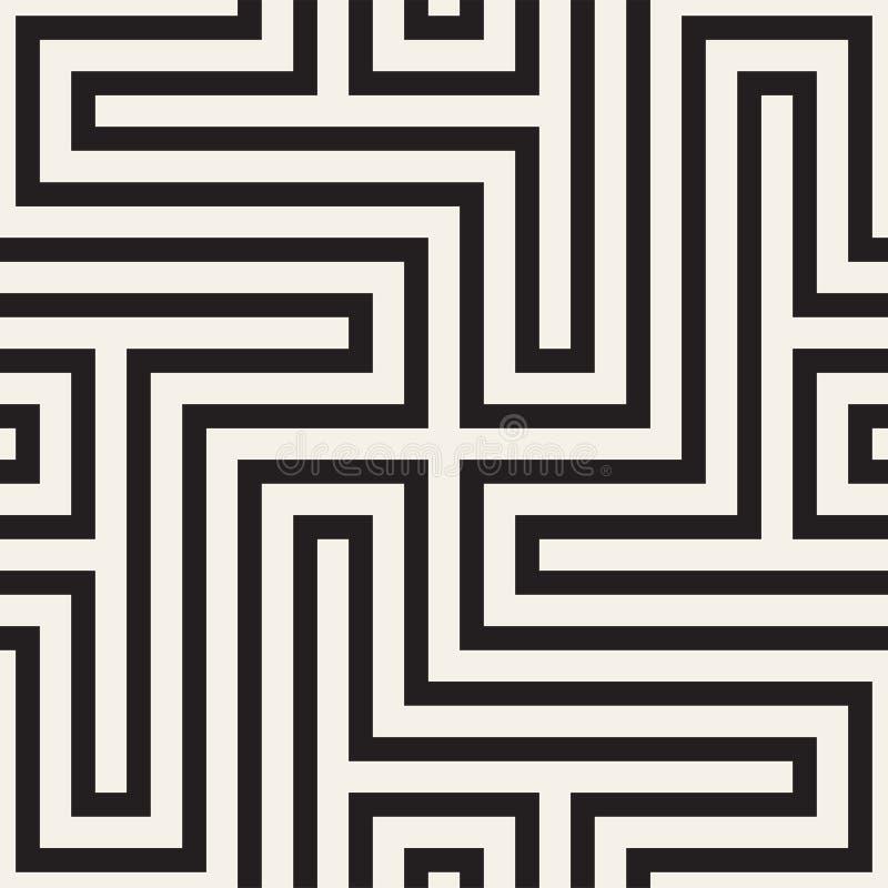 Modèle géométrique abstrait avec des rayures, lignes Ackground sans couture de vecteur Texture noire et blanche de trellis illustration libre de droits