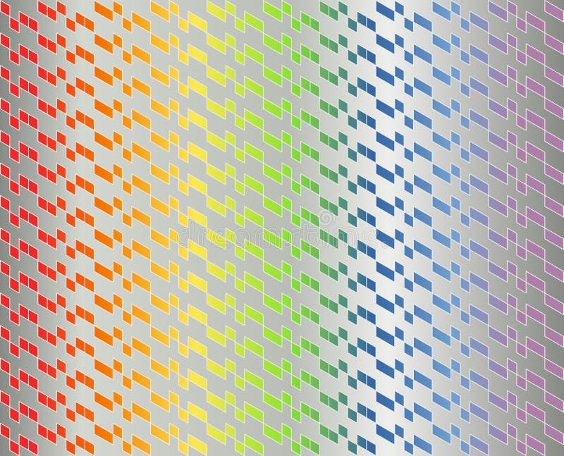 Modèle géométrique abstrait dans le gradient coloré d'arc-en-ciel avec les lignes blanches minces sur la couleur grise métallique illustration stock