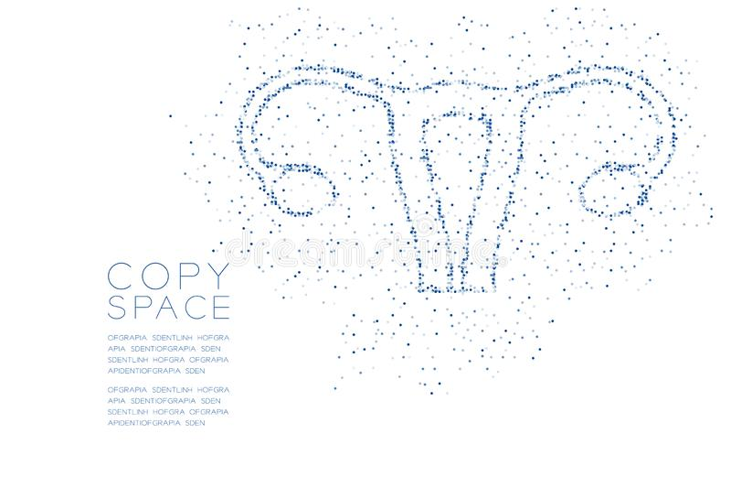 Modèle géométrique abstrait de pixel de point de cercle de forme d'ovaire et d'utérus, illustration de couleur bleue de conceptio illustration stock