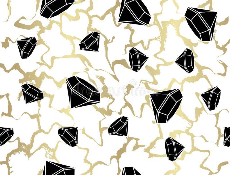 Modèle géométrique abstrait des formes primitives Diamant d'or d'isolement sur le fond blanc des lignes onduleuses Décor sans cou illustration de vecteur