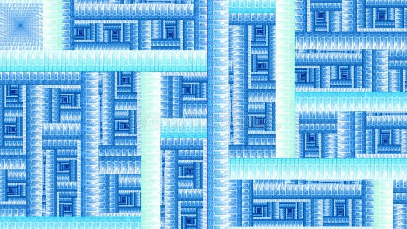 Modèle géométrique abstrait fait en grille carrée et rectangulaire avec des spirales décoratives dans bleu en pastel et vert lumi illustration libre de droits