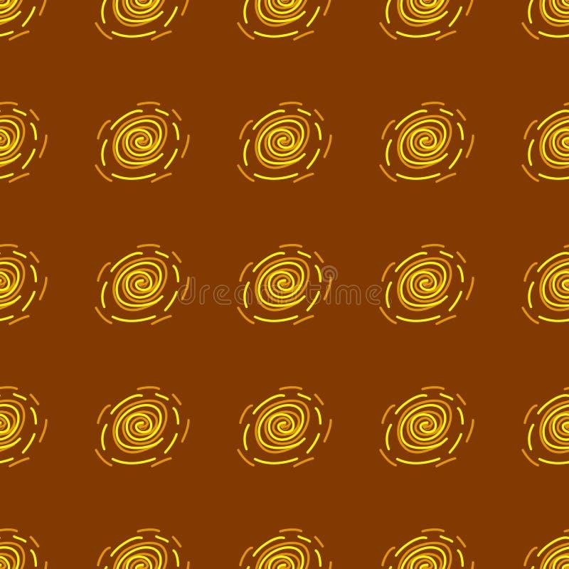 Modèle géométrique abstrait jaune et orange sur le fond brun illustration stock