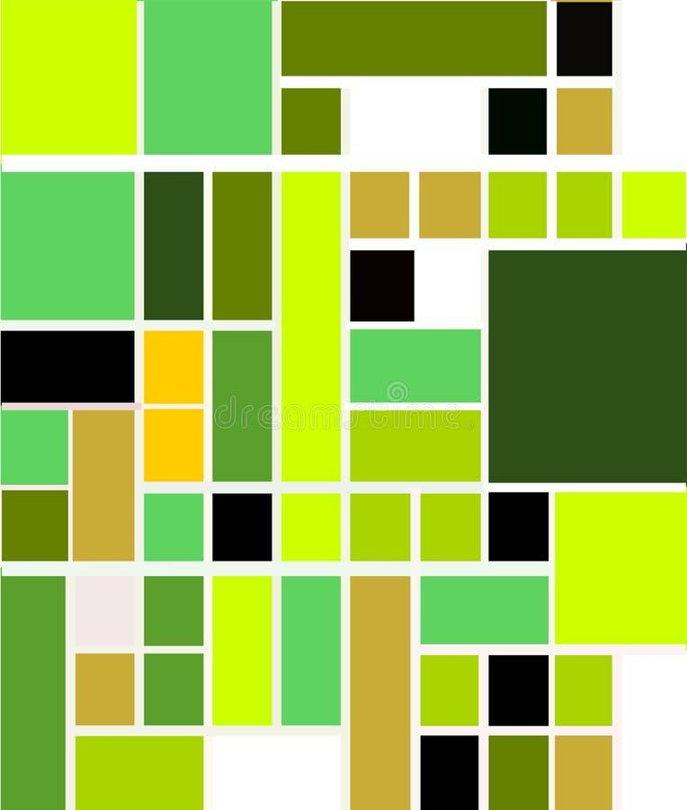 Modèle géométrique abstrait moderne utilisant des tons verts et bleus illustration de vecteur