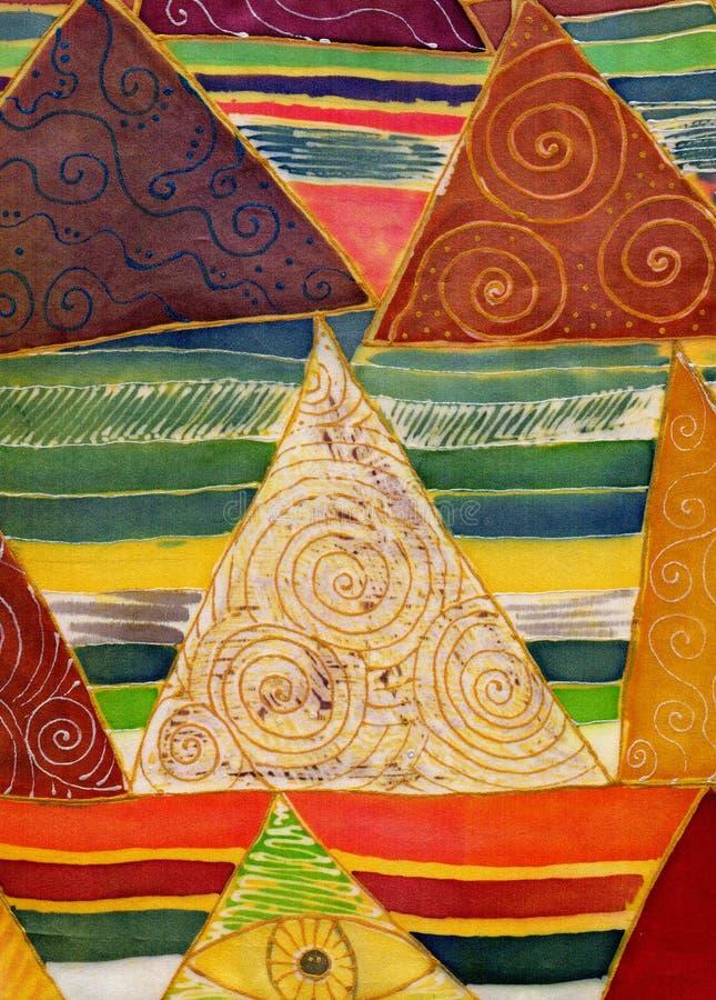 Modèle géométrique abstrait sur la soie Batik, composition décorative, aquarelle Employez les matériaux imprimés, signes, article illustration de vecteur