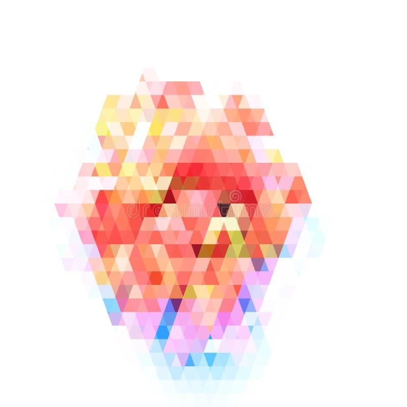 Modèle géométrique abstrait sur le fond blanc Modèle coloré de verre coloré illustration libre de droits