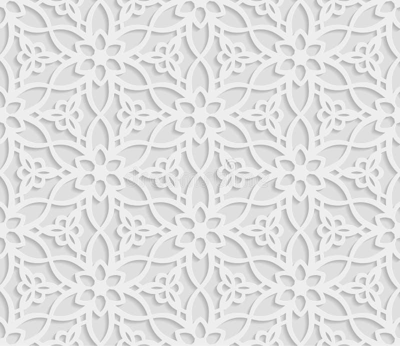 Modèle géométrique arabe sans couture, 3D fond blanc, ornement indien, motif persan, texture de vecteur La texture sans fin sont  illustration de vecteur