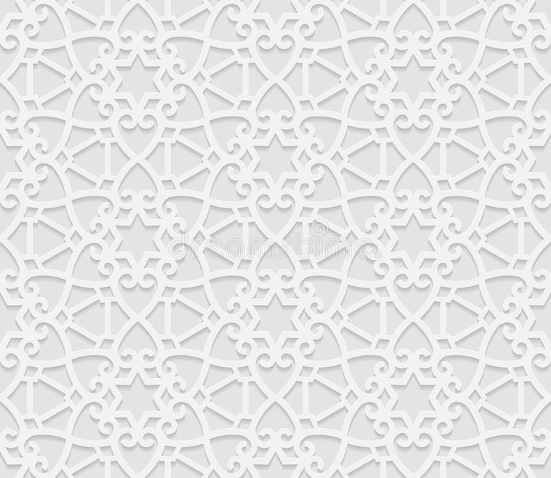 Modèle géométrique arabe sans couture, 3D modèle blanc, ornement indien, motif persan, vecteur La texture sans fin peut être empl illustration stock