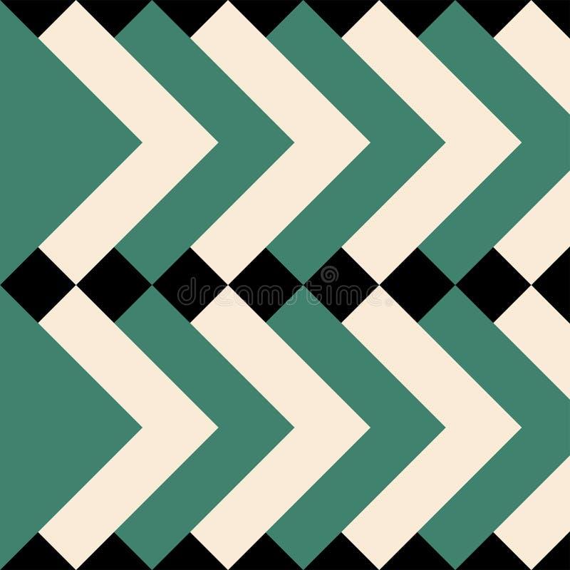 Modèle géométrique avec des places de vert et de crème illustration libre de droits