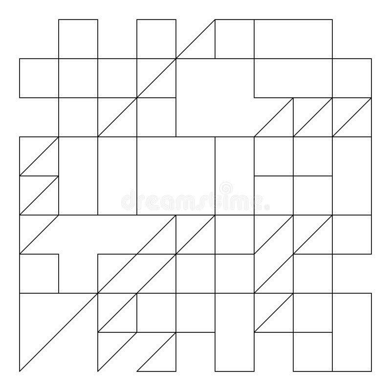 Modèle géométrique avec des triangles, des rectangles et des places dans le style contemporain sur le fond blanc Polygonal abstra illustration libre de droits