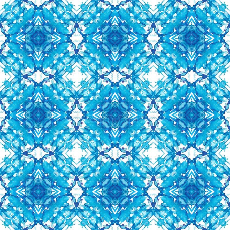 Modèle géométrique bleu de kaléidoscope illustration stock