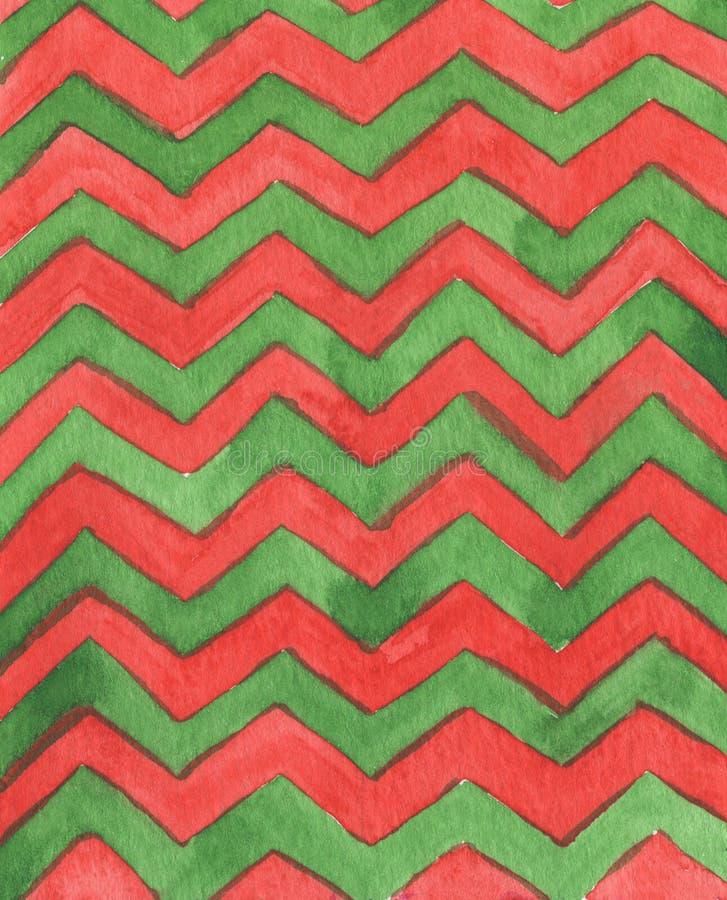 Modèle géométrique d'aquarelle abstraite le modèle avec le zigzag raye pour le fond, papier peint, textile Rouge et vert illustration de vecteur