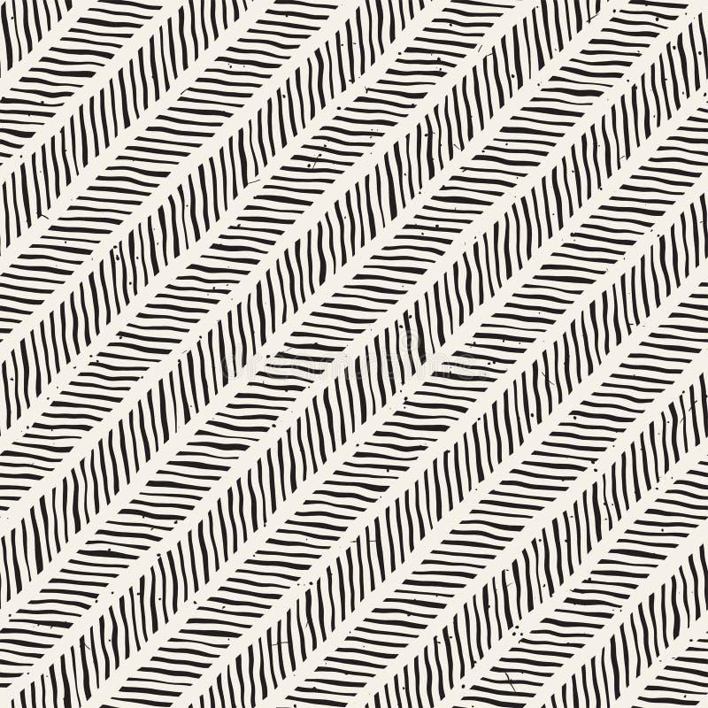 Modèle géométrique d'encre simple Lignes noires et blanches monochromes fond L'encre tirée par la main a balayé la texture de zig illustration de vecteur
