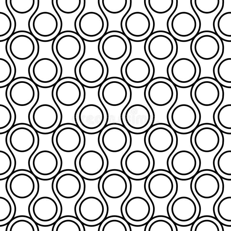 Modèle géométrique de cercles noirs et blancs sans couture illustration de vecteur