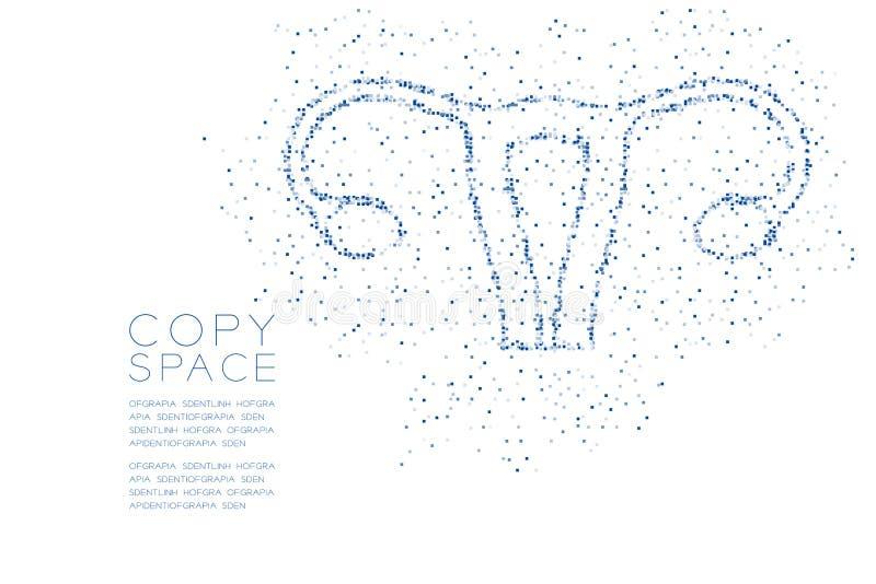 Modèle géométrique de pixel de boîte carrée d'abrégé sur forme d'ovaire et d'utérus, illustration de couleur bleue de conception  illustration de vecteur