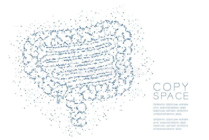 Modèle géométrique de pixel de point de cercle d'abrégé sur forme d'intestin, illustration de couleur bleue de conception de l'av illustration stock