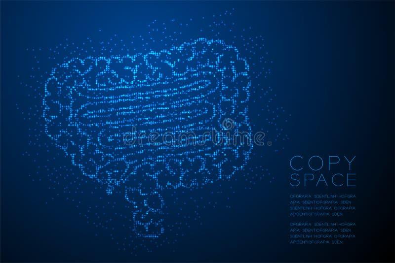 Modèle géométrique de pixel de point de cercle de lumière de Bokeh d'abrégé sur forme d'intestin ; Couleur bleue de conception de illustration libre de droits