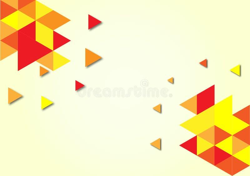 Modèle géométrique de triangles rouges, oranges et jaunes à l'arrière-plan jaune-clair illustration stock