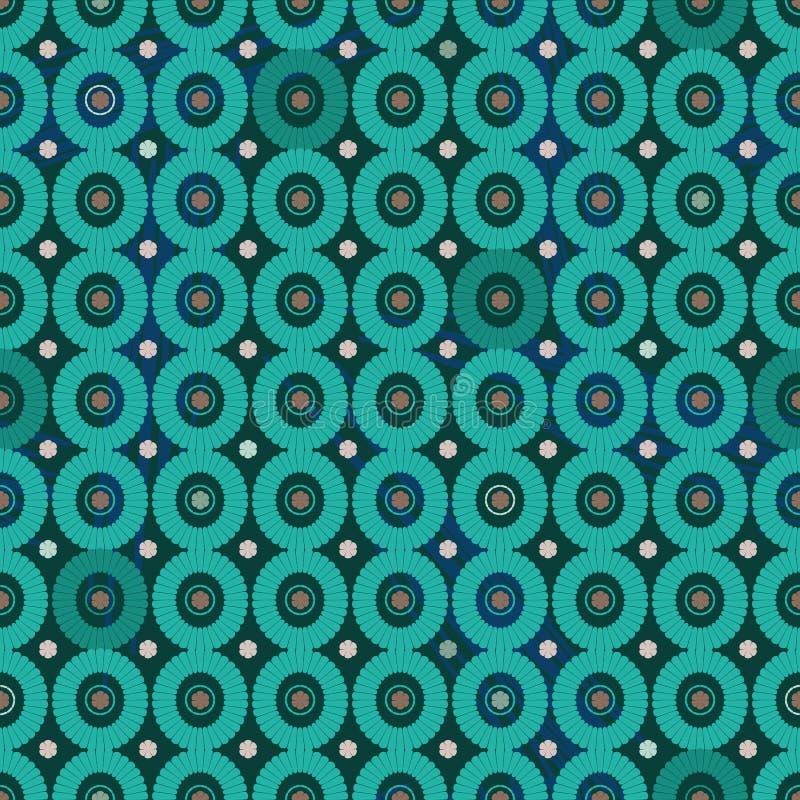 Modèle géométrique de vecteur sans couture avec des cercles de sarcelle d'hiver illustration de vecteur