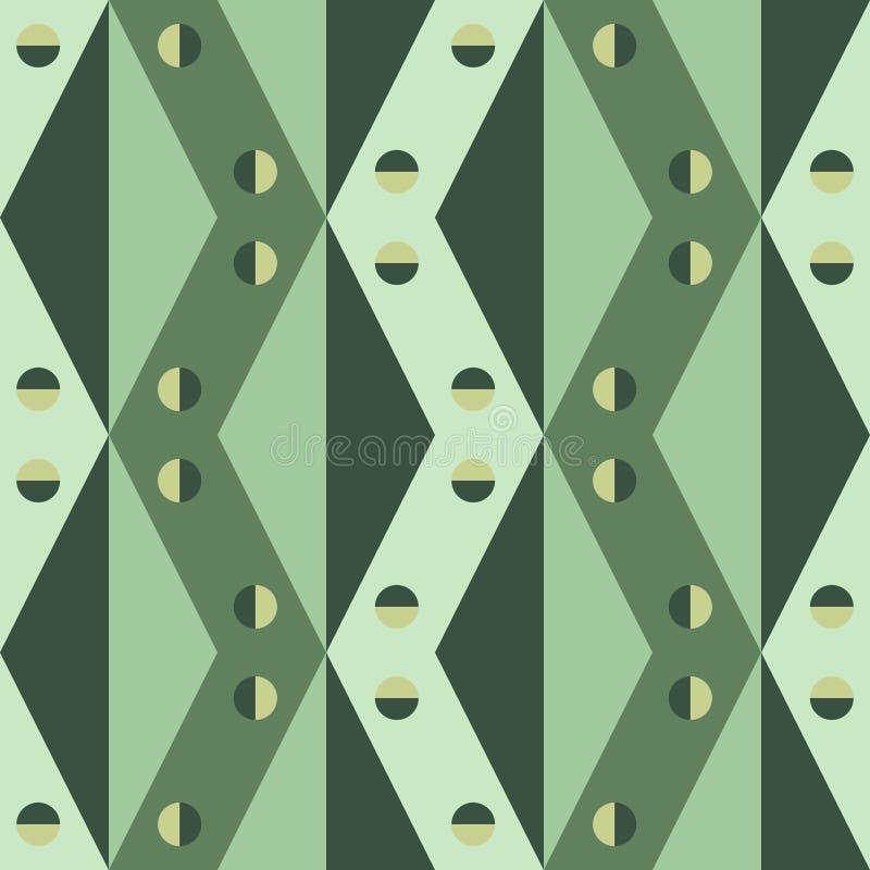 Modèle géométrique des triangles, du losange et des places aux nuances du vert illustration de vecteur
