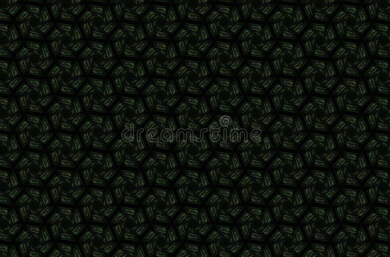Modèle géométrique foncé abstrait des prismes Texture de grille de la géométrie La fleur de prisme figure le fond Maro rouge vert image libre de droits