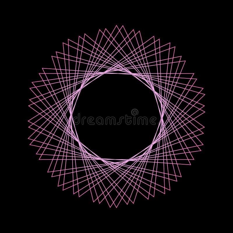 Modèle géométrique mystique de vecteur Cadre rond de la géométrie sacrée illustration stock