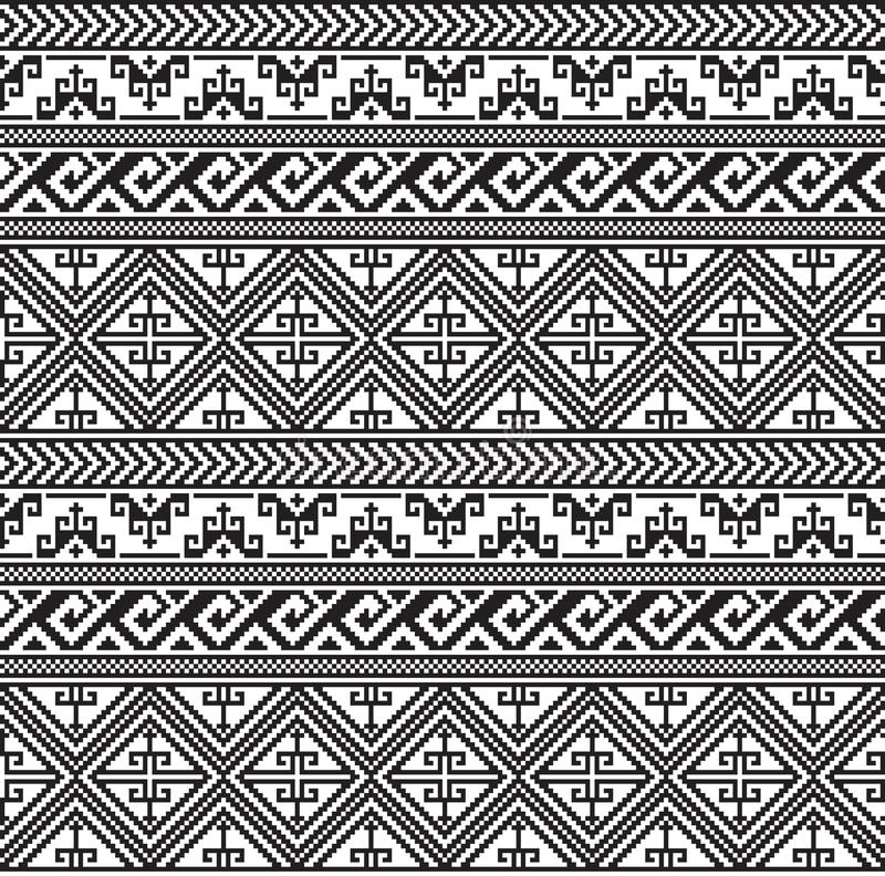 Modèle géométrique noir sans couture Style ethnique d'Indiens d'Amerique illustration stock