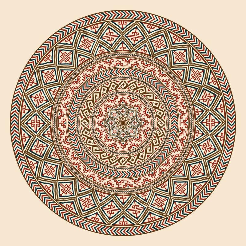 Modèle géométrique rond, style ethnique d'Indiens d'Amerique illustration de vecteur
