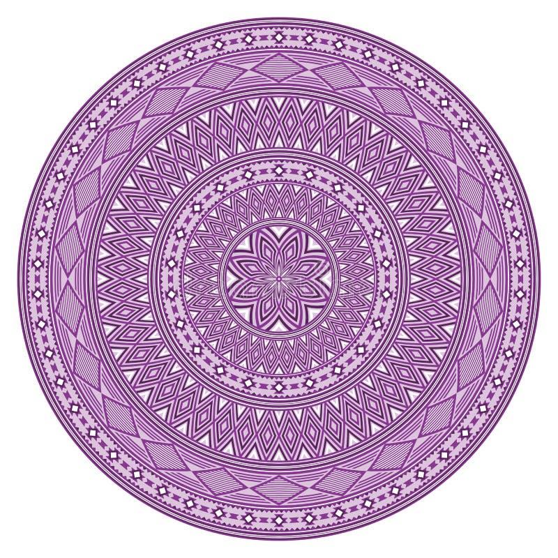 Modèle géométrique rond, style ethnique d'Indiens d'Amerique illustration stock