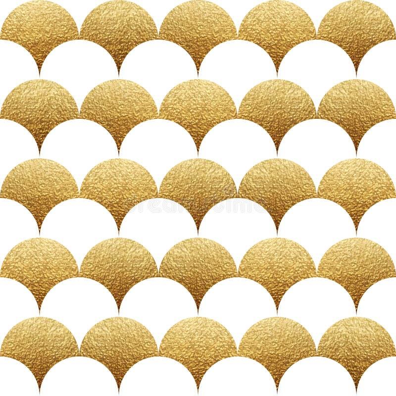 Modèle géométrique sans couture abstrait avec le squama de texture d'or illustration libre de droits