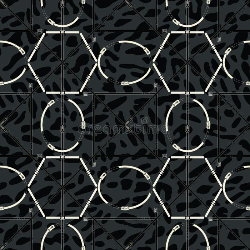 Modèle géométrique sans couture avec des ceintures et des boucles Copie complexe de vecteur dans noir, gris et blanc illustration libre de droits