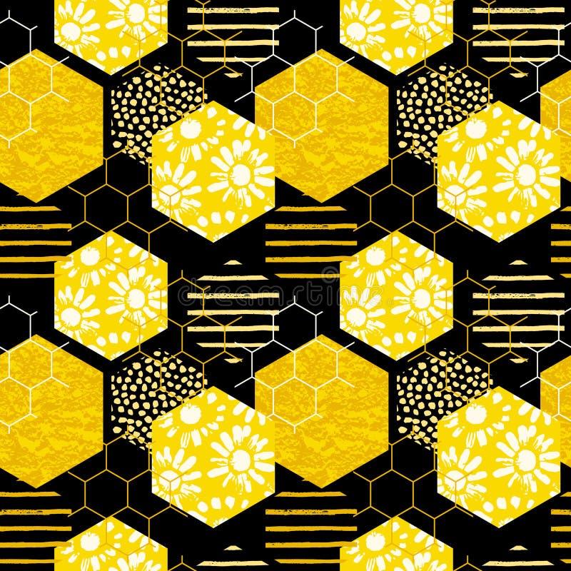Modèle géométrique sans couture avec le nid d'abeilles Textures tirées par la main à la mode illustration de vecteur