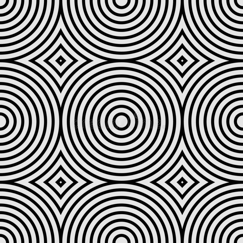 Modèle géométrique sans couture avec les cercles concentriques et les losanges Illustration noire et blanche de vecteur illustration stock