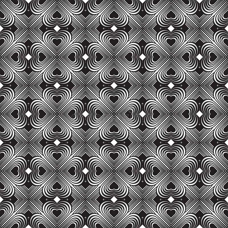 Modèle géométrique sans couture avec les coeurs stylisés Répétition du vinta illustration stock