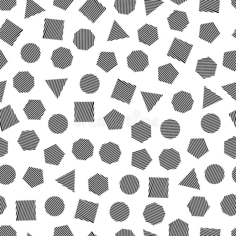 Modèle géométrique sans couture avec les places noires, les triangles, les cercles, les pentagones, les hexagones et les heptagon illustration de vecteur