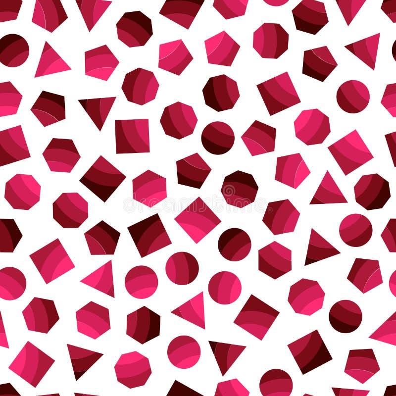 Modèle géométrique sans couture avec les places rouge foncé pour le tissu et les cartes postales illustration stock