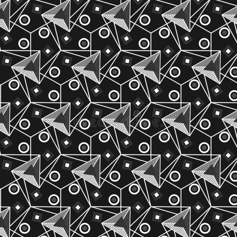 Modèle géométrique sans couture de large échelle noire et blanche moderne illustration libre de droits