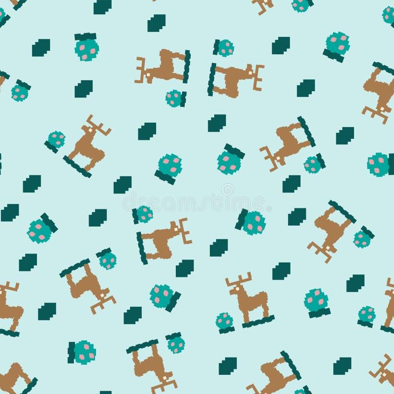 Modèle géométrique sans couture de résumé des cerfs communs et du Bush avec des baies Pour l'impression, tissus de textile, milie illustration stock